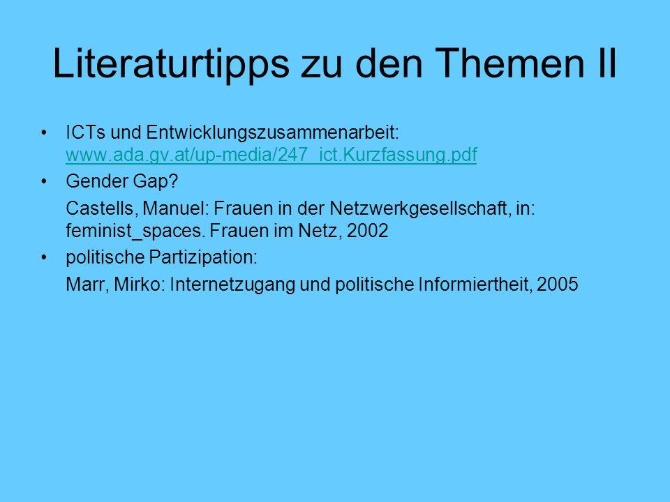 Literaturtipps zu den Themen II ICTs und Entwicklungszusammenarbeit: www.ada.gv.at/up-media/247_ict.Kurzfassung.pdf www.ada.gv.at/up-media/247_ict.Kurzfassung.pdf Gender Gap.