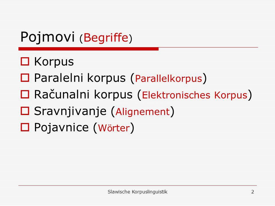 Slawische Korpuslinguistik3 Hrvatski korpusi (Kroatische Korpora) Hrvatski korpusi (Kroatische Korpora) Hrvatski nacionalni korpus (Kroatisches Nationalkorpus) Hrvatska mrežna riznica (Kroatische Netzquelle) http://www.hnk.ffzg.hr/http://www.hnk.ffzg.hr/ http://riznica.ihjj.hr/http://riznica.ihjj.hr/