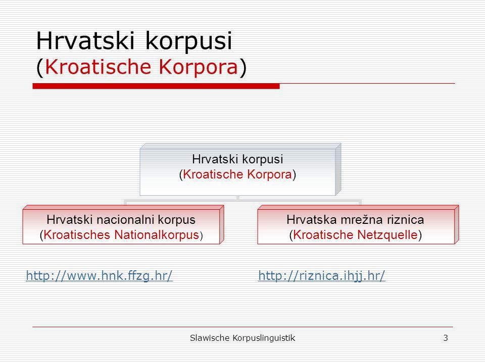 Slawische Korpuslinguistik4 Hrvatski nacionalni korpus (Kroatisches Nationalkorpus) Hrvatski nacionalni korpus (101,3 mil.) (Kroatisches Nationalkorpus 101,3 Mio.) Korpus suvremenoga hrvatskoga (Korpus der kro.