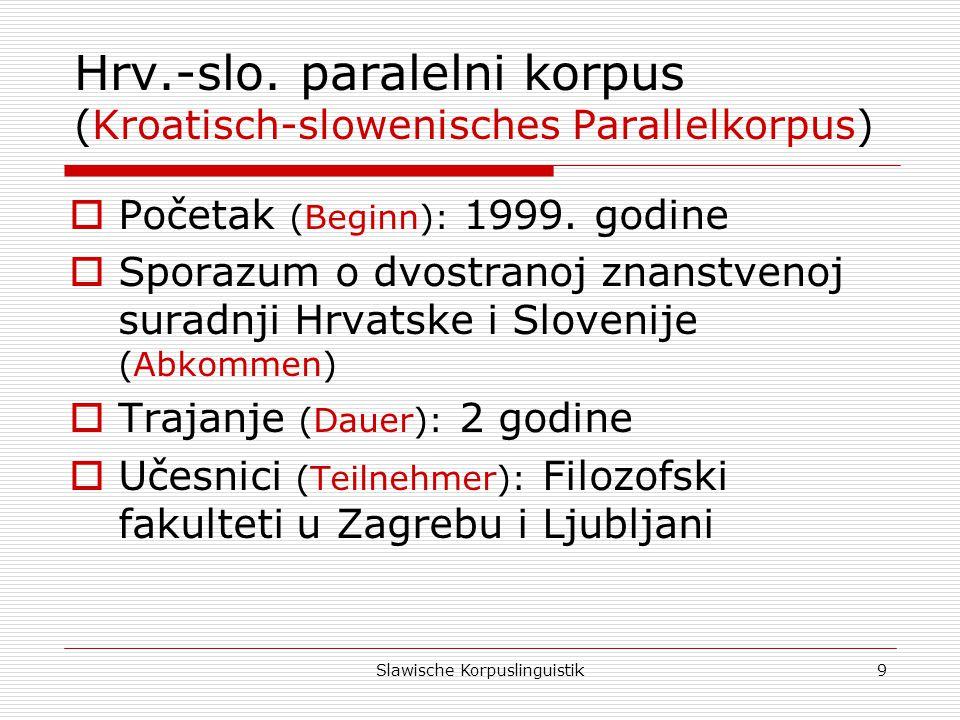 Slawische Korpuslinguistik20 Korpusni parametri (Korpusparameter) Jezik (Sprache) Hrvatski (Kroatisch) Engleski (Englisch) Članci (Artikel) 4.748 Rečenice (Sätze) 74.63882.898 Pojavnice (Wörter) 1.636.2461.968.874