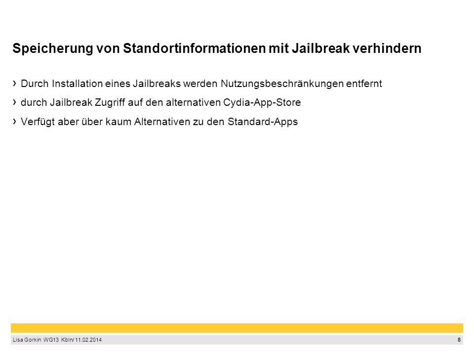9 Lisa Gorkin WG13 Köln/ 11.02.2014 Quellen http://de.wikipedia.org/wiki/Mobile_App http://www.heise.de/ct/artikel/Selbstbedienungsladen-Smartphone-1464717.html http://www.androidmag.de/news/branchen-news/13-der-kostenlosen-apps-greifen-auf- personliche-nutzerdaten-zu/ http://www.klicksafe.de/themen/kommunizieren/smartphones/apps-datenschutz/ http://de.wikipedia.org/wiki/Jailbreak_%28iOS%29