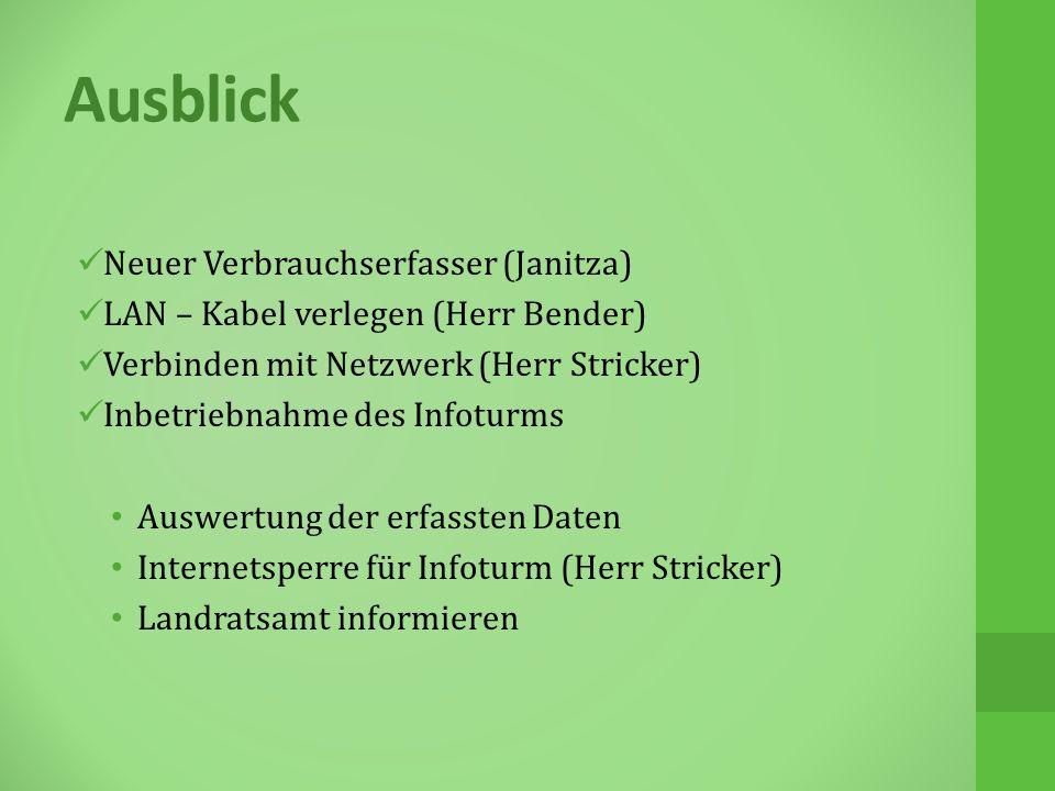 Ausblick Neuer Verbrauchserfasser (Janitza) LAN – Kabel verlegen (Herr Bender) Verbinden mit Netzwerk (Herr Stricker) Inbetriebnahme des Infoturms Auswertung der erfassten Daten Internetsperre für Infoturm (Herr Stricker) Landratsamt informieren