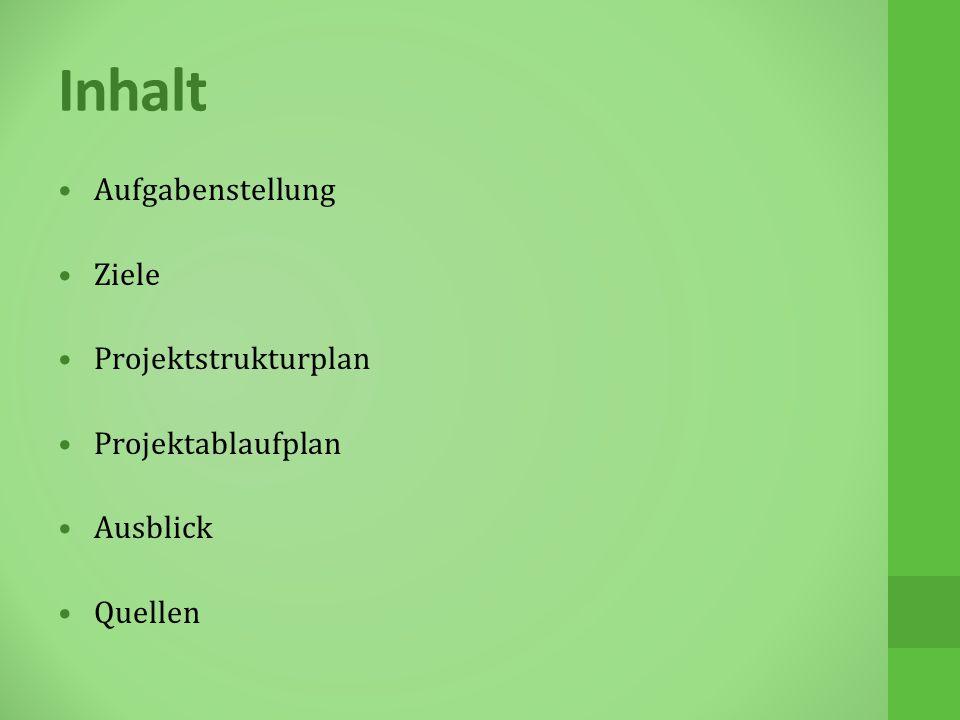 Inhalt Aufgabenstellung Ziele Projektstrukturplan Projektablaufplan Ausblick Quellen