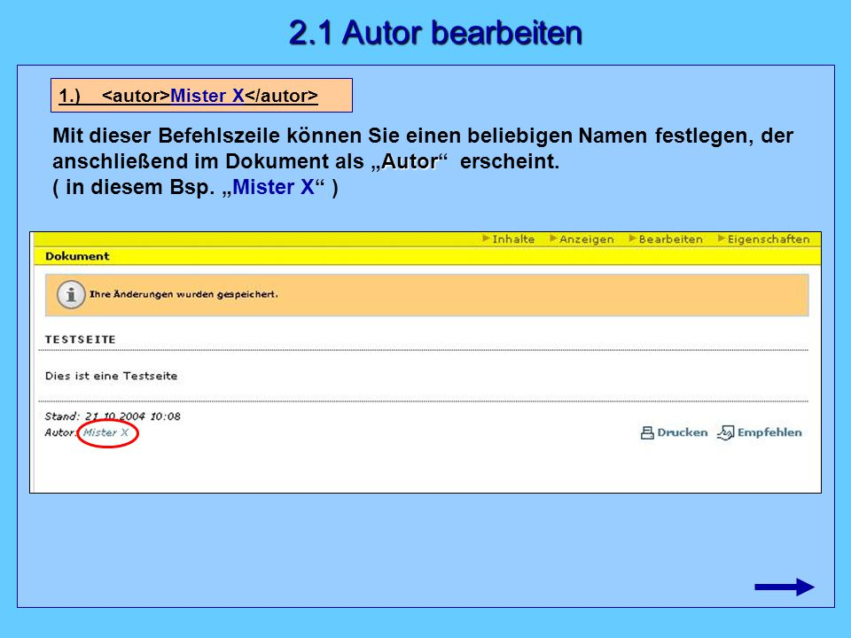 """Autor Mit dieser Befehlszeile können Sie einen beliebigen Namen festlegen, der anschließend im Dokument als """"Autor"""" erscheint. ( in diesem Bsp. """"Miste"""