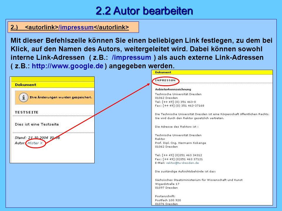 Mit dieser Befehlszeile können Sie einen beliebigen Link festlegen, zu dem bei Klick, auf den Namen des Autors, weitergeleitet wird.
