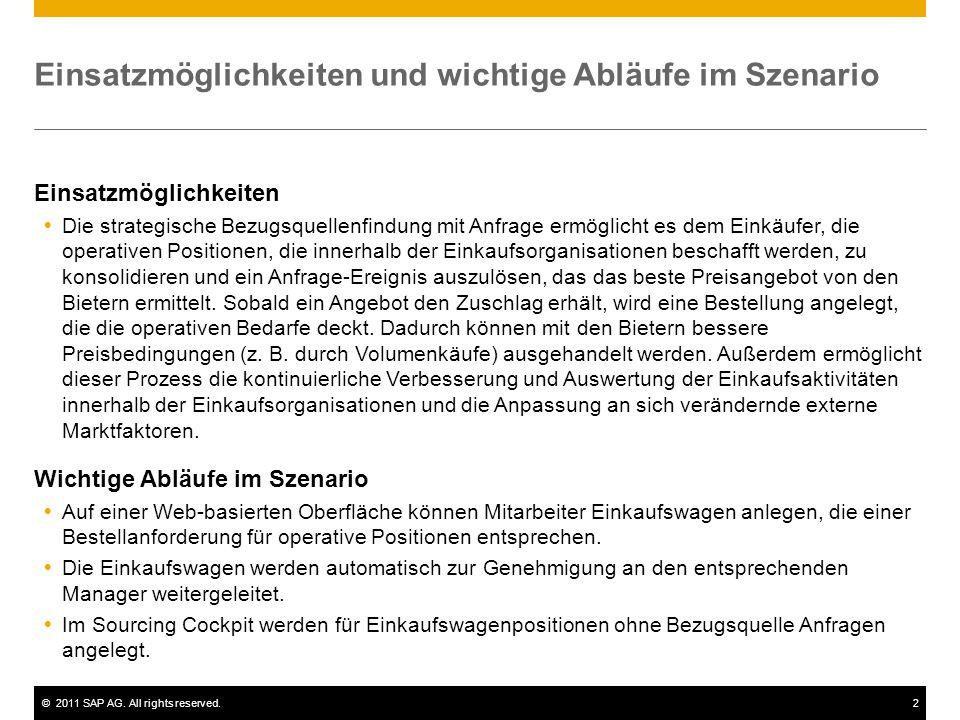 ©2011 SAP AG. All rights reserved.2 Einsatzmöglichkeiten und wichtige Abläufe im Szenario Einsatzmöglichkeiten  Die strategische Bezugsquellenfindung