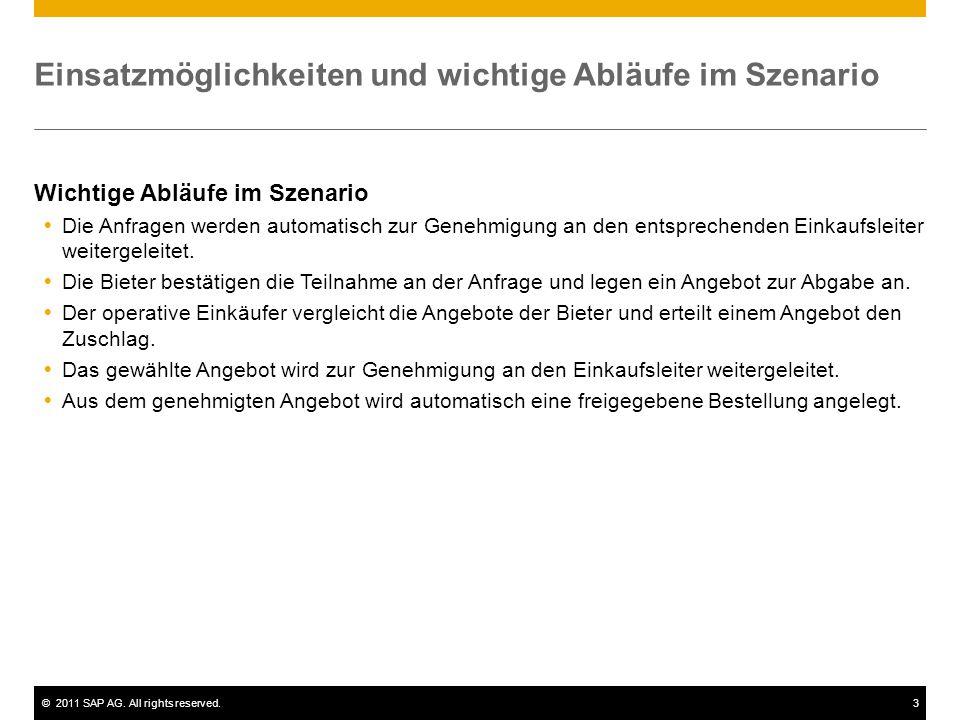 ©2011 SAP AG. All rights reserved.3 Einsatzmöglichkeiten und wichtige Abläufe im Szenario Wichtige Abläufe im Szenario  Die Anfragen werden automatis