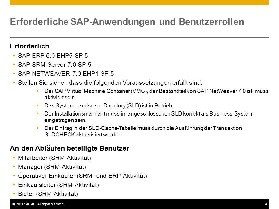 ©2011 SAP AG. All rights reserved.4 Erforderliche SAP-Anwendungen und Benutzerrollen Erforderlich  SAP ERP 6.0 EHP5 SP 5  SAP SRM Server 7.0 SP 5 