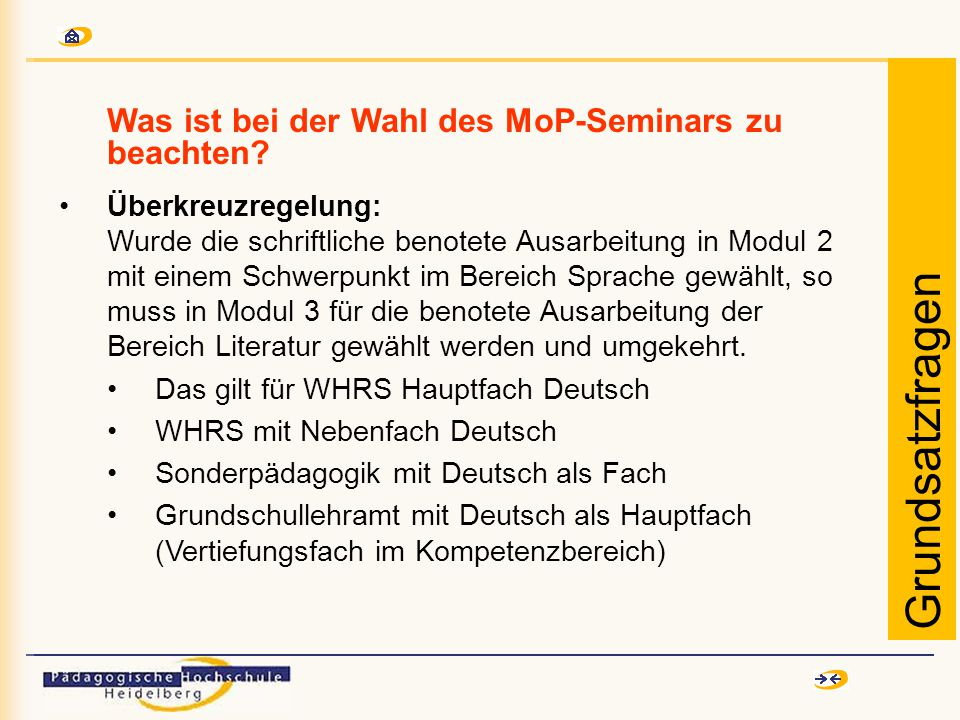Was ist bei der Wahl des MoP-Seminars zu beachten.