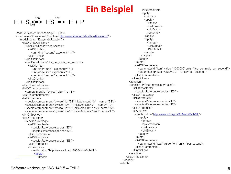 Softwarewerkzeuge WS 14/15 – Teil 2 Nochmal: 7 http://www.sbml.org/sbml/level2/version3 : : E + S ES => E + P k on k off k cat