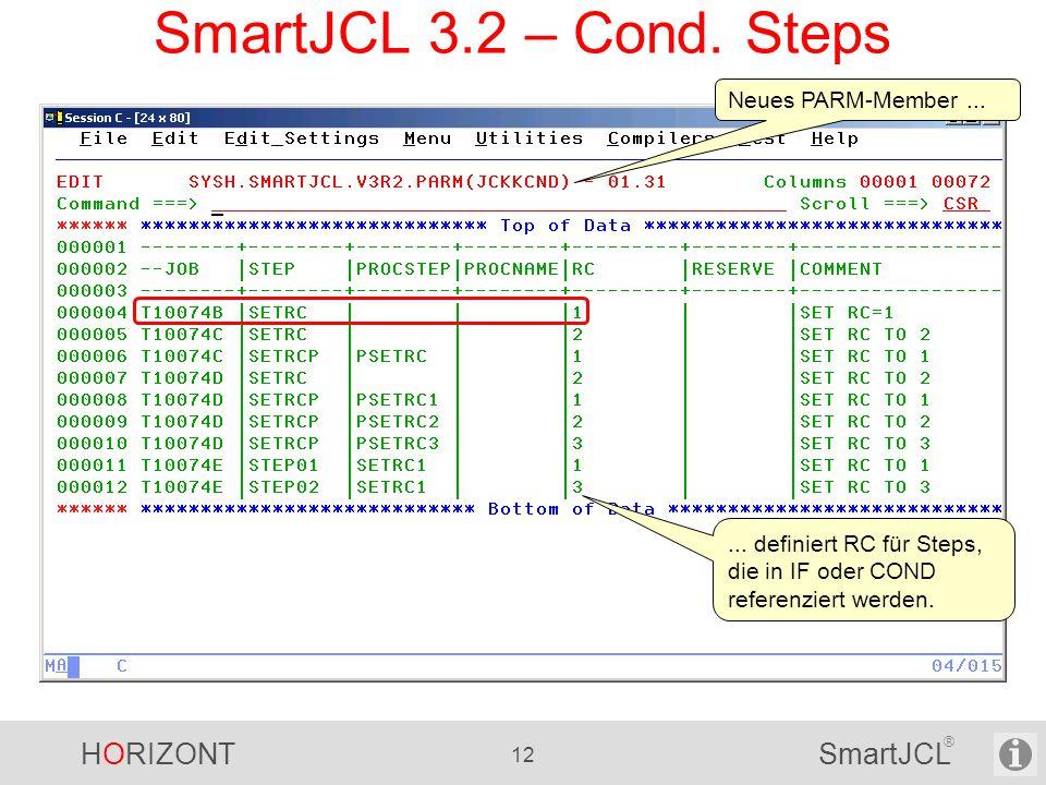 HORIZONT 12 SmartJCL ® SmartJCL 3.2 – Cond. Steps Neues PARM-Member...... definiert RC für Steps, die in IF oder COND referenziert werden.