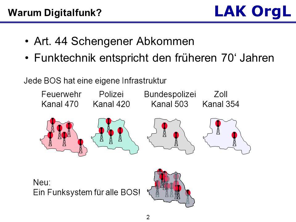 LAK OrgL 2 Warum Digitalfunk? Art. 44 Schengener Abkommen Funktechnik entspricht den früheren 70' Jahren Jede BOS hat eine eigene Infrastruktur Feuerw