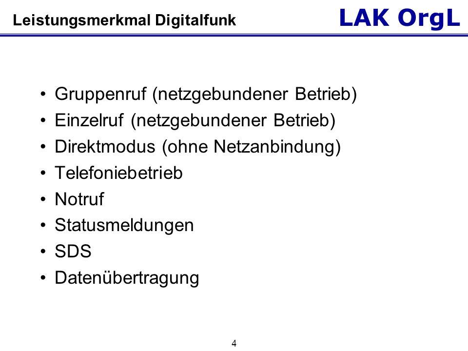 LAK OrgL 4 Leistungsmerkmal Digitalfunk Gruppenruf (netzgebundener Betrieb) Einzelruf (netzgebundener Betrieb) Direktmodus (ohne Netzanbindung) Telefo