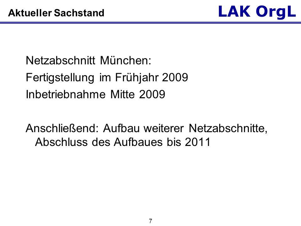 LAK OrgL 7 Aktueller Sachstand Netzabschnitt München: Fertigstellung im Frühjahr 2009 Inbetriebnahme Mitte 2009 Anschließend: Aufbau weiterer Netzabsc
