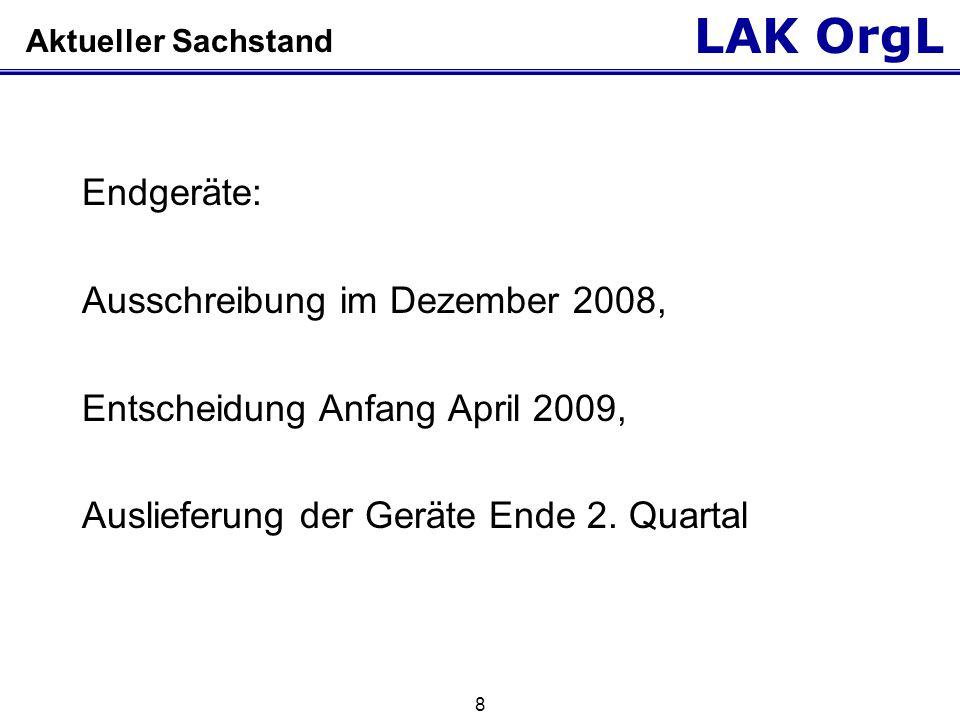 LAK OrgL 8 Aktueller Sachstand Endgeräte: Ausschreibung im Dezember 2008, Entscheidung Anfang April 2009, Auslieferung der Geräte Ende 2. Quartal