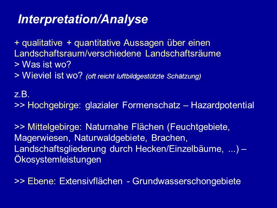 Interpretation/Analyse + qualitative + quantitative Aussagen über einen Landschaftsraum/verschiedene Landschaftsräume > Was ist wo.
