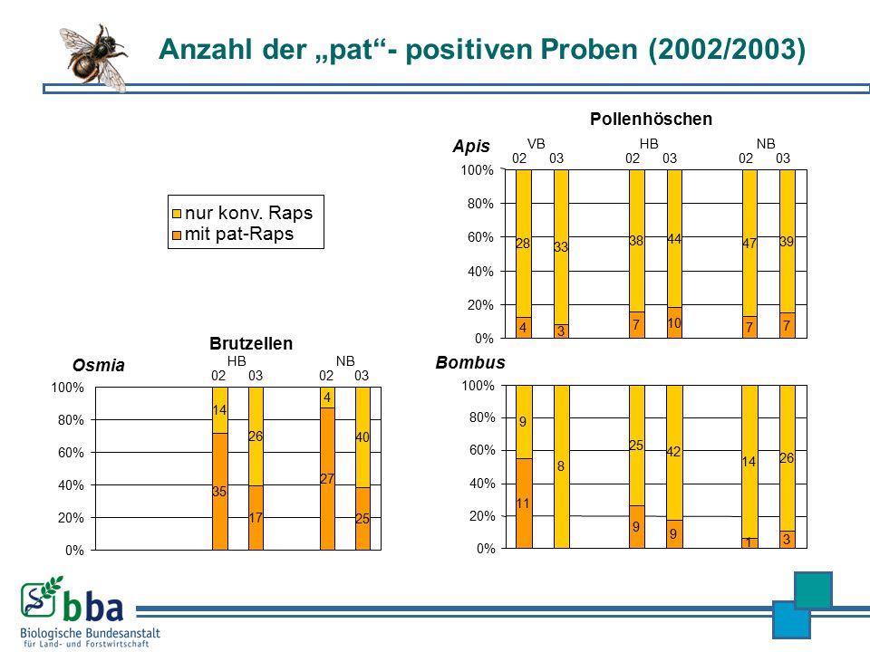 "Anzahl der ""pat""- positiven Proben (2002/2003) nur konv. Raps mit pat-Raps 4 3 7 10 7 7 28 33 38 44 47 39 0% 20% 40% 60% 80% 100% 020302030203 VBHBNB"