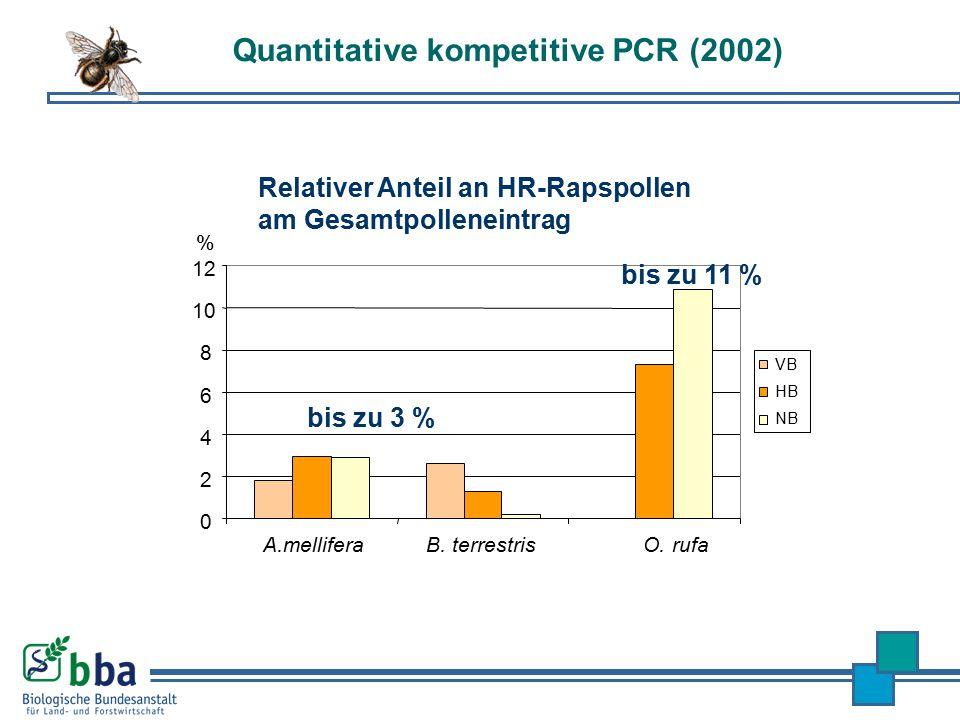 Quantitative kompetitive PCR (2002) 0 2 4 6 8 10 12 A.melliferaB. terrestrisO. rufa VB HB NB % Relativer Anteil an HR-Rapspollen am Gesamtpolleneintra
