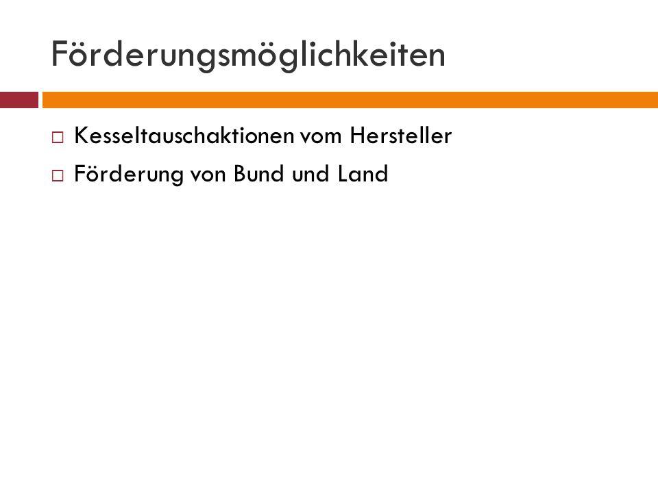 Förderungsmöglichkeiten  Kesseltauschaktionen vom Hersteller  Förderung von Bund und Land