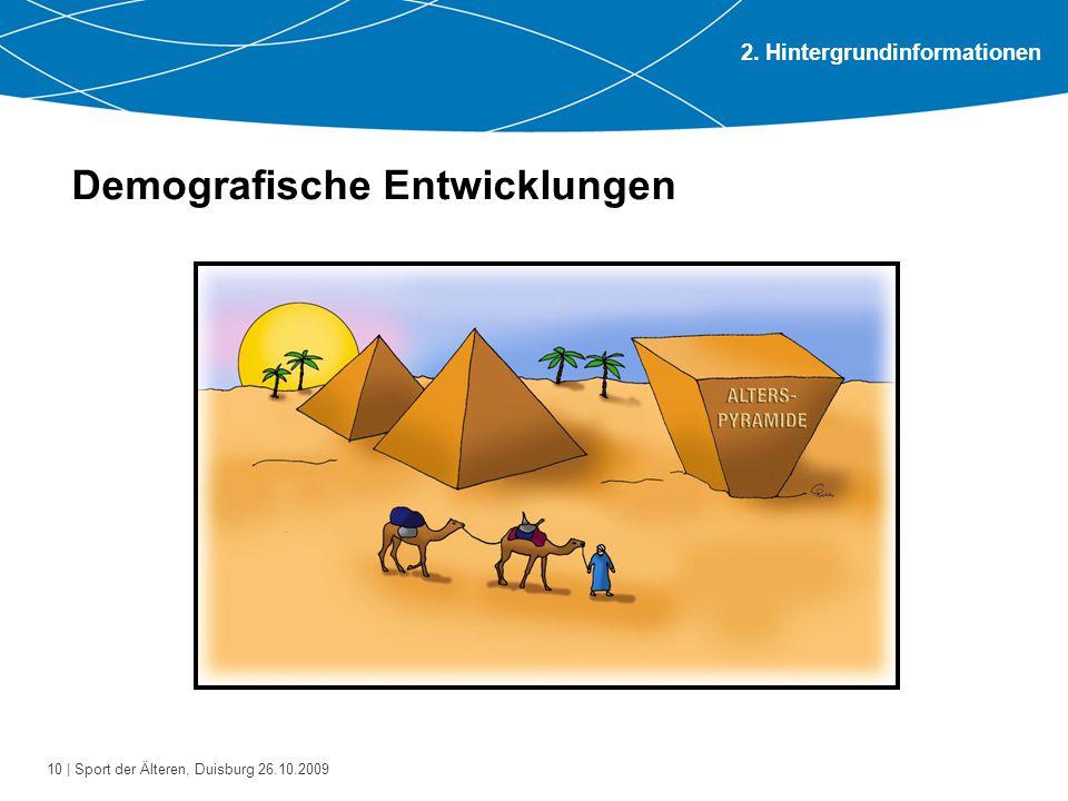 10 | Sport der Älteren, Duisburg 26.10.2009 Demografische Entwicklungen 2. Hintergrundinformationen