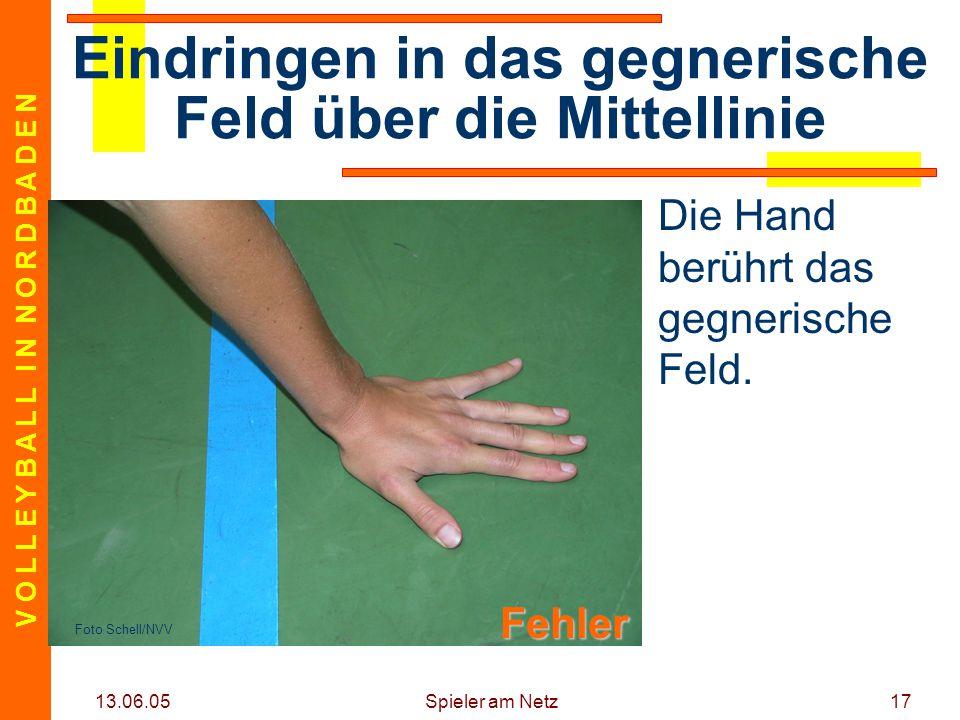 V O L L E Y B A L L I N N O R D B A D E N 13.06.05 Spieler am Netz17 Die Hand berührt das gegnerische Feld.