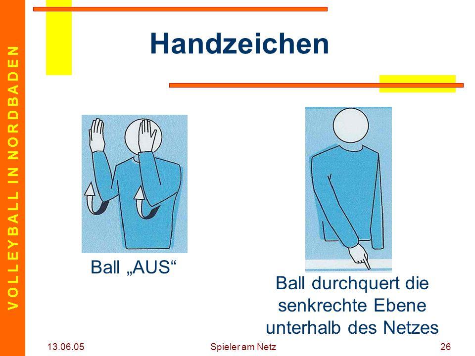 """V O L L E Y B A L L I N N O R D B A D E N 13.06.05 Spieler am Netz26 Handzeichen Ball """"AUS"""" Ball durchquert die senkrechte Ebene unterhalb des Netzes"""