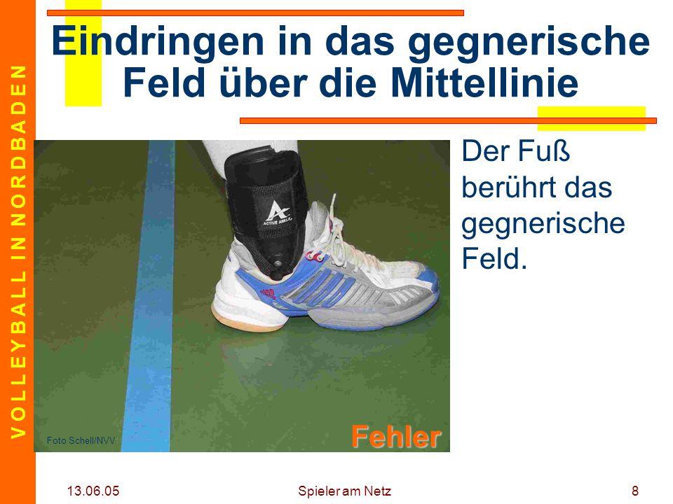 V O L L E Y B A L L I N N O R D B A D E N 13.06.05 Spieler am Netz8 Der Fuß berührt das gegnerische Feld.