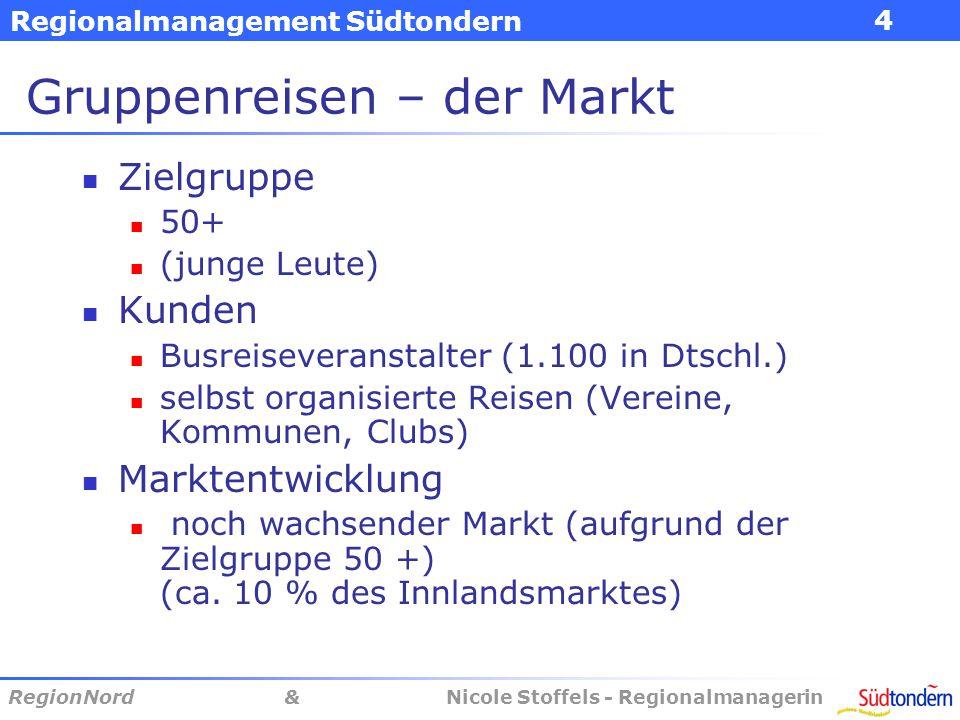 Regionalmanagement Südtondern RegionNord & Nicole Stoffels - Regionalmanagerin 4 Gruppenreisen – der Markt Zielgruppe 50+ (junge Leute) Kunden Busreiseveranstalter (1.100 in Dtschl.) selbst organisierte Reisen (Vereine, Kommunen, Clubs) Marktentwicklung noch wachsender Markt (aufgrund der Zielgruppe 50 +) (ca.