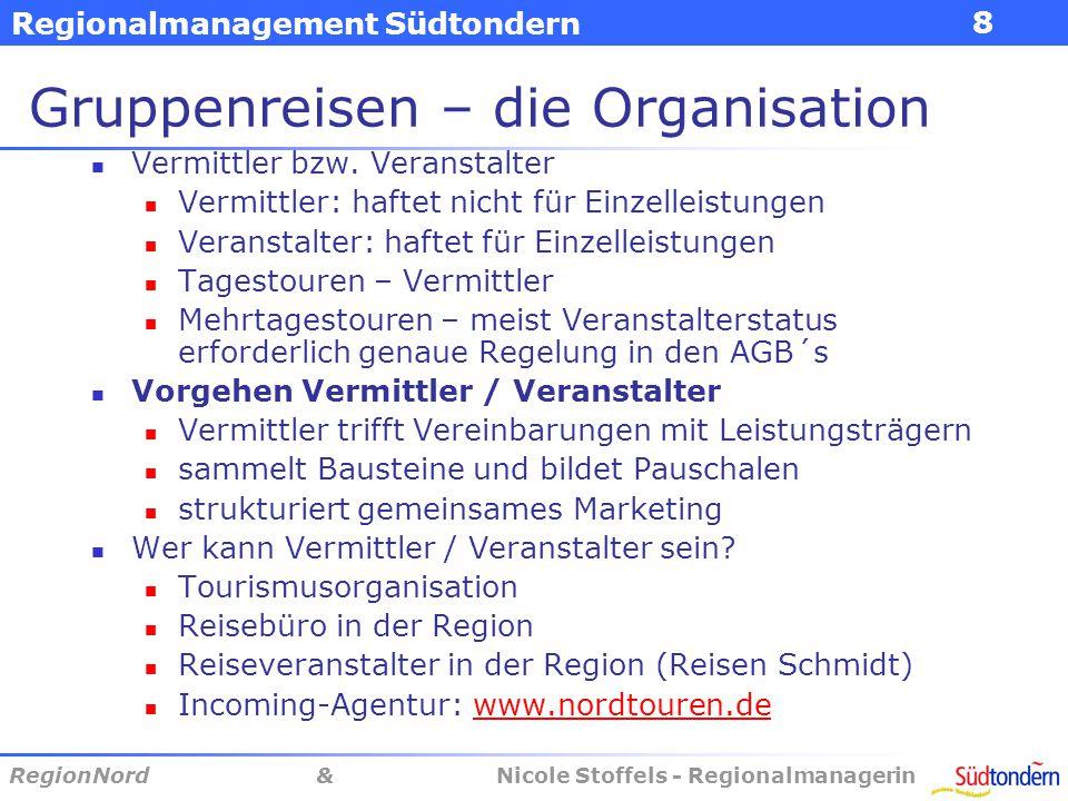 Regionalmanagement Südtondern RegionNord & Nicole Stoffels - Regionalmanagerin 8 Gruppenreisen – die Organisation Vermittler bzw.