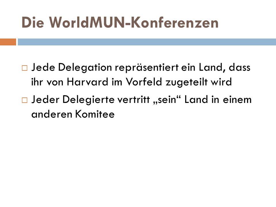 """Die WorldMUN-Konferenzen  Jede Delegation repräsentiert ein Land, dass ihr von Harvard im Vorfeld zugeteilt wird  Jeder Delegierte vertritt """"sein Land in einem anderen Komitee"""
