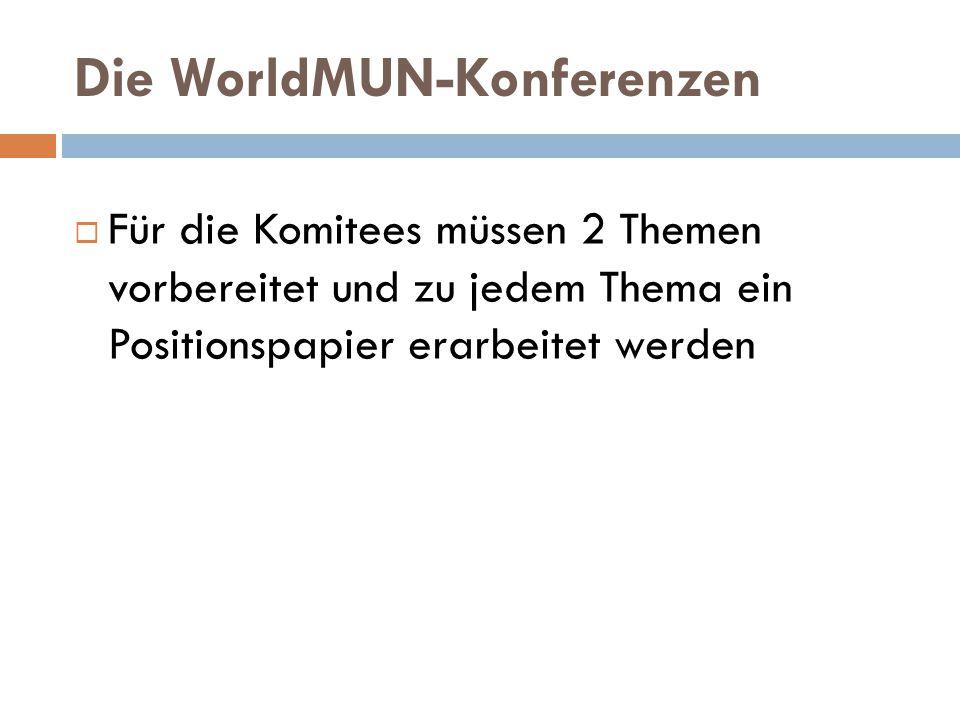 Die WorldMUN-Konferenzen  Für die Komitees müssen 2 Themen vorbereitet und zu jedem Thema ein Positionspapier erarbeitet werden