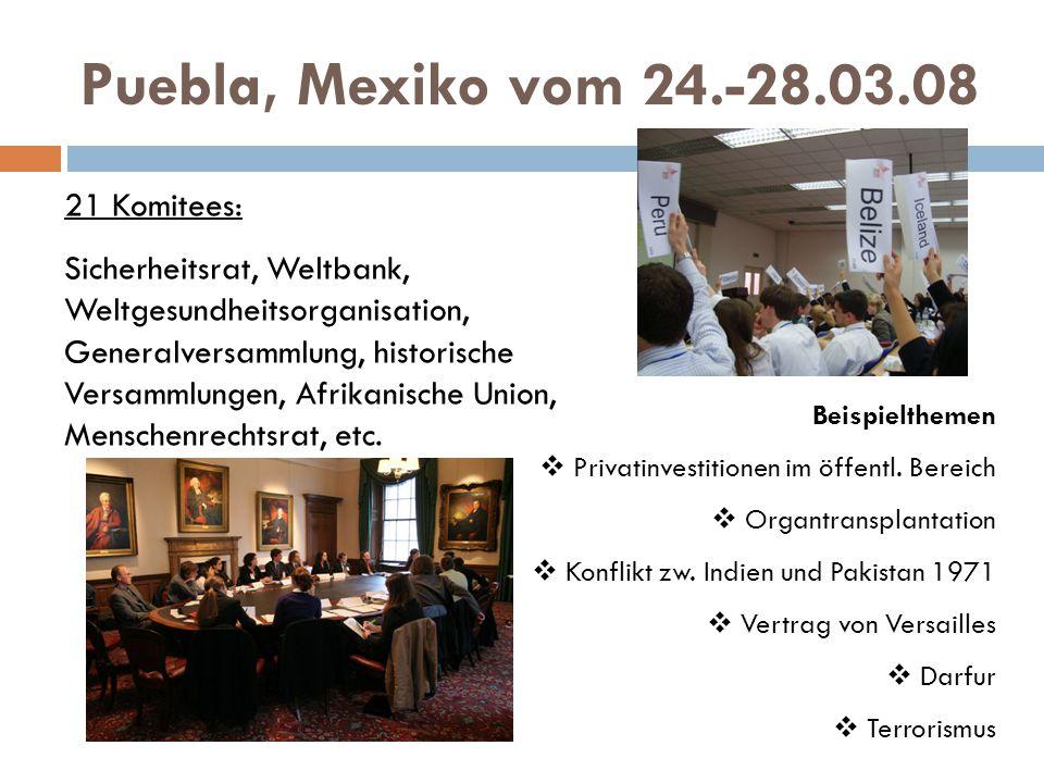 Puebla, Mexiko vom 24.-28.03.08 21 Komitees: Sicherheitsrat, Weltbank, Weltgesundheitsorganisation, Generalversammlung, historische Versammlungen, Afrikanische Union, Menschenrechtsrat, etc.