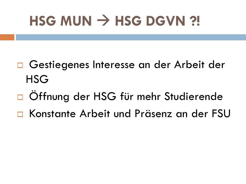 HSG MUN  HSG DGVN ?!  Gestiegenes Interesse an der Arbeit der HSG  Öffnung der HSG für mehr Studierende  Konstante Arbeit und Präsenz an der FSU