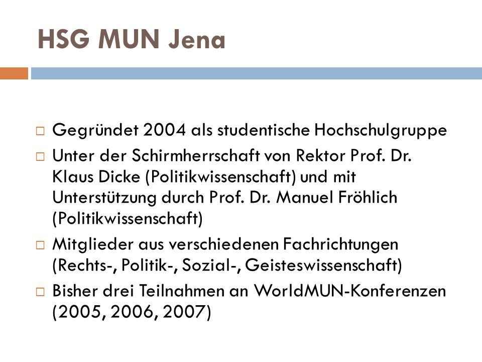 HSG MUN Jena  Gegründet 2004 als studentische Hochschulgruppe  Unter der Schirmherrschaft von Rektor Prof. Dr. Klaus Dicke (Politikwissenschaft) und