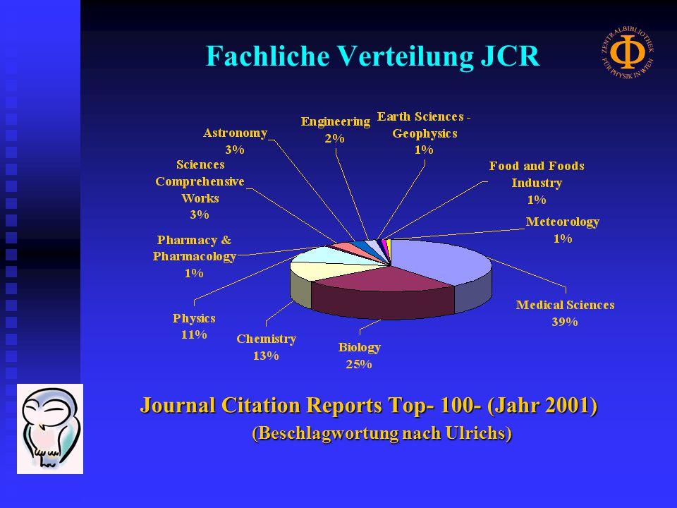 Fachliche Verteilung JCR Journal Citation Reports Top- 100- (Jahr 2001) (Beschlagwortung nach Ulrichs)