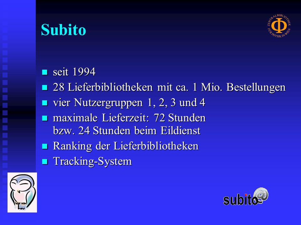 Ranking der Subito-Lieferbibliotheken 2003-2.Quartal