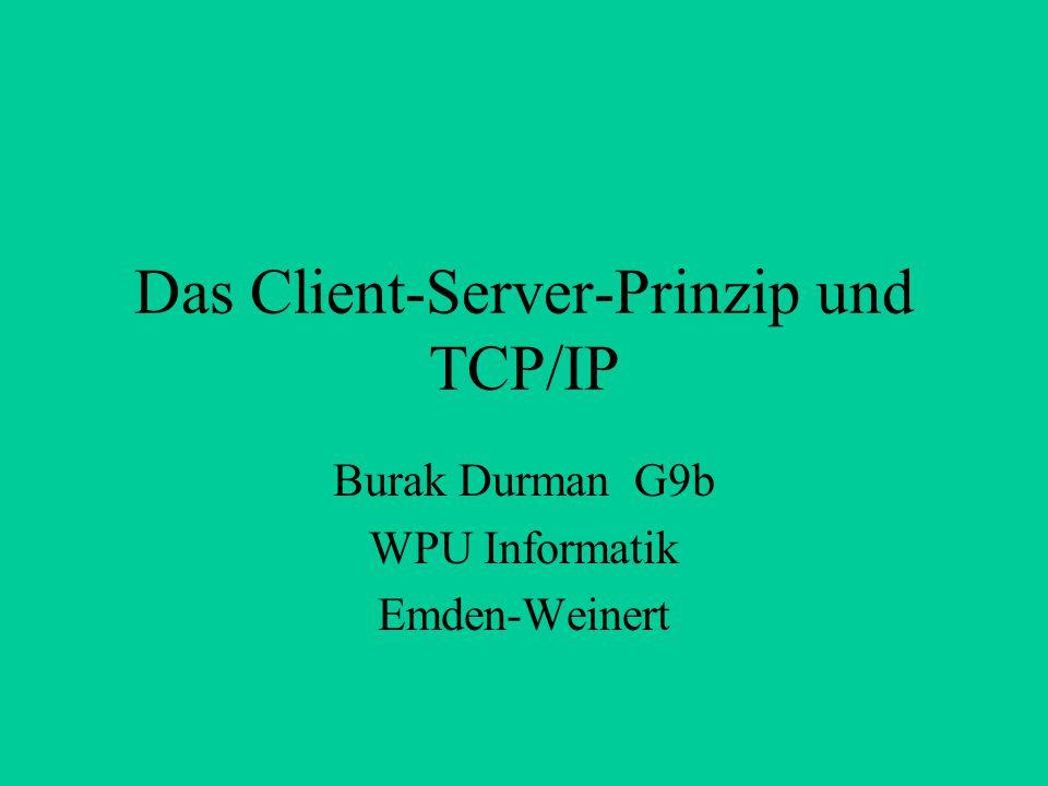 Das Client-Server-Prinzip und TCP/IP Burak Durman G9b WPU Informatik Emden-Weinert