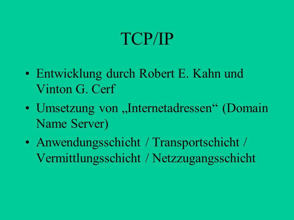 """TCP/IP Entwicklung durch Robert E. Kahn und Vinton G. Cerf Umsetzung von """"Internetadressen"""" (Domain Name Server) Anwendungsschicht / Transportschicht"""
