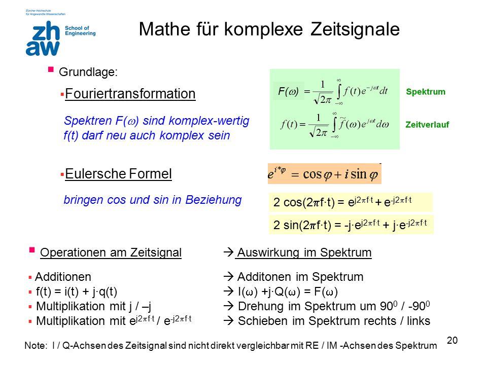 20 Mathe für komplexe Zeitsignale  Fouriertransformation Spektren F(  ) sind komplex-wertig f(t) darf neu auch komplex sein  Eulersche Formel bring
