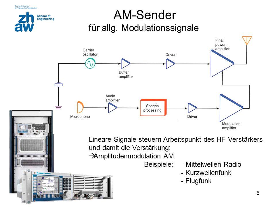 5 AM-Sender für allg. Modulationssignale Lineare Signale steuern Arbeitspunkt des HF-Verstärkers und damit die Verstärkung:  Amplitudenmodulation AM