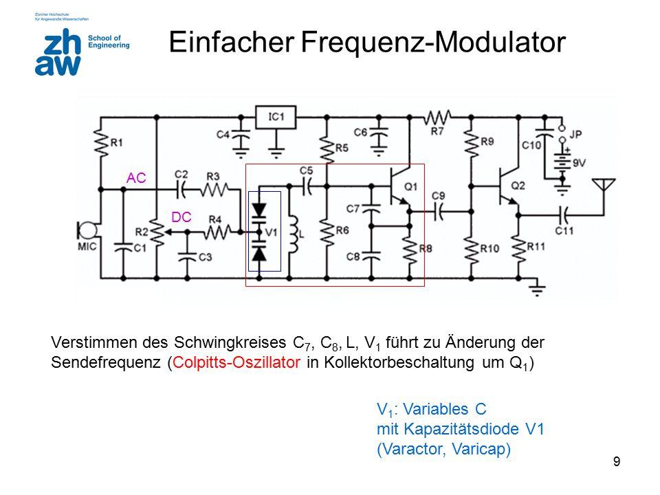 9 Einfacher Frequenz-Modulator Verstimmen des Schwingkreises C 7, C 8, L, V 1 führt zu Änderung der Sendefrequenz (Colpitts-Oszillator in Kollektorbes