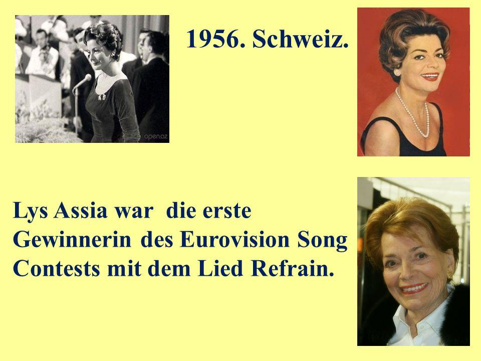 Lys Assia war die erste Gewinnerin des Eurovision Song Contests mit dem Lied Refrain.