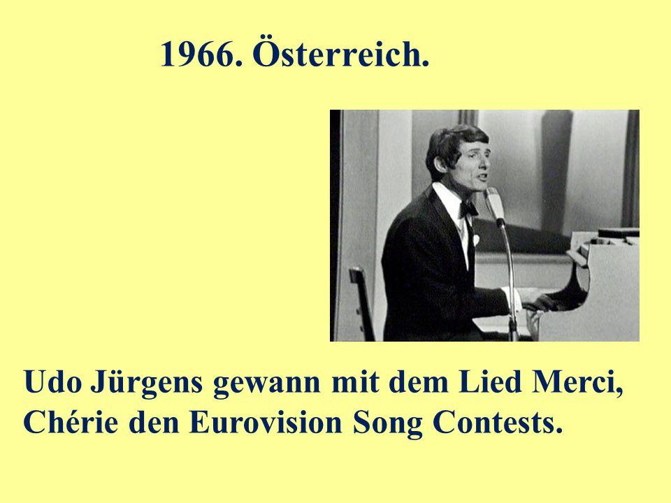 Udo Jürgens gewann mit dem Lied Merci, Chérie den Eurovision Song Contests. 1966. Österreich.