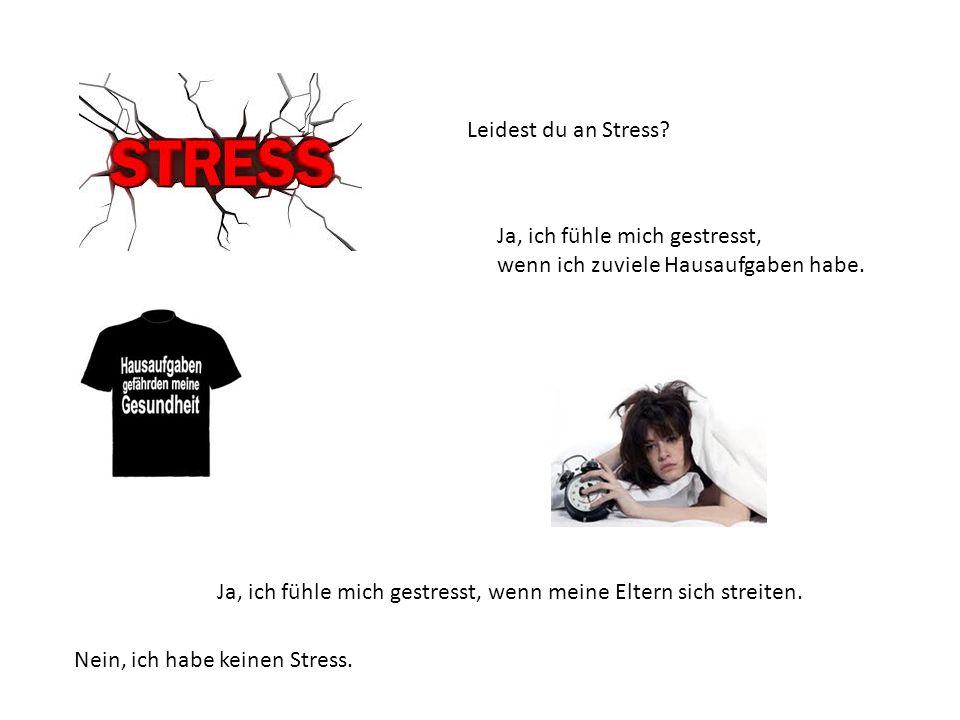 Leidest du an Stress? Ja, ich fühle mich gestresst, wenn ich zuviele Hausaufgaben habe. Ja, ich fühle mich gestresst, wenn meine Eltern sich streiten.
