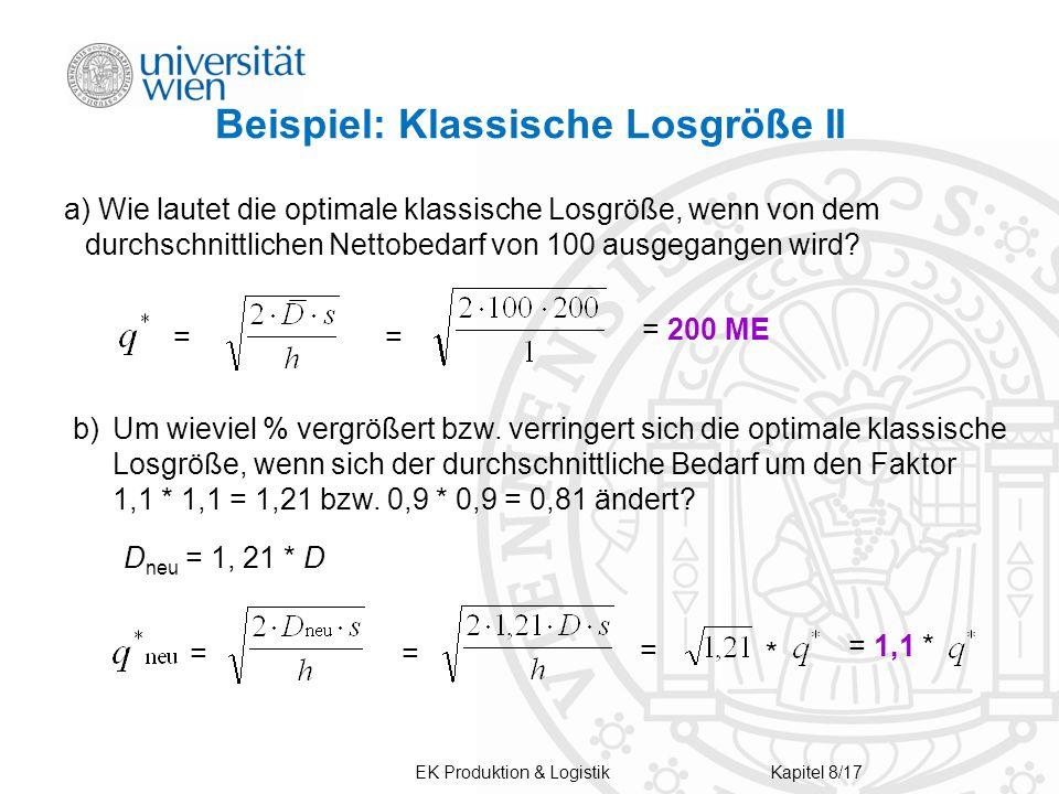 Beispiel: Klassische Losgröße II a) Wie lautet die optimale klassische Losgröße, wenn von dem durchschnittlichen Nettobedarf von 100 ausgegangen wird.