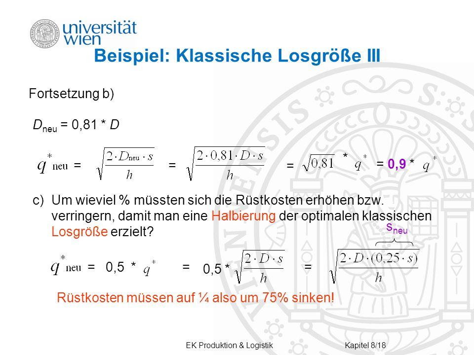 Beispiel: Klassische Losgröße III Fortsetzung b) D neu = 0,81 * D = = * = 0,9 * c)Um wieviel % müssten sich die Rüstkosten erhöhen bzw.