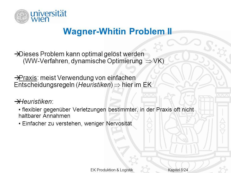 Wagner-Whitin Problem II  Dieses Problem kann optimal gelöst werden (WW-Verfahren, dynamische Optimierung  VK)  Praxis: meist Verwendung von einfachen Entscheidungsregeln (Heuristiken)  hier im EK  Heuristiken: flexibler gegenüber Verletzungen bestimmter, in der Praxis oft nicht haltbarer Annahmen Einfacher zu verstehen, weniger Nervosität Kapitel 8/24 EK Produktion & Logistik