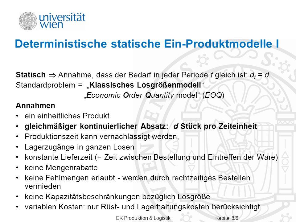 Deterministische statische Ein-Produktmodelle I Statisch  Annahme, dass der Bedarf in jeder Periode t gleich ist: d t = d.