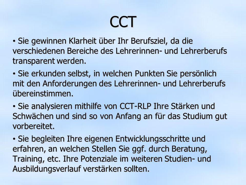 CCT Sie gewinnen Klarheit über Ihr Berufsziel, da die verschiedenen Bereiche des Lehrerinnen- und Lehrerberufs transparent werden. Sie gewinnen Klarhe