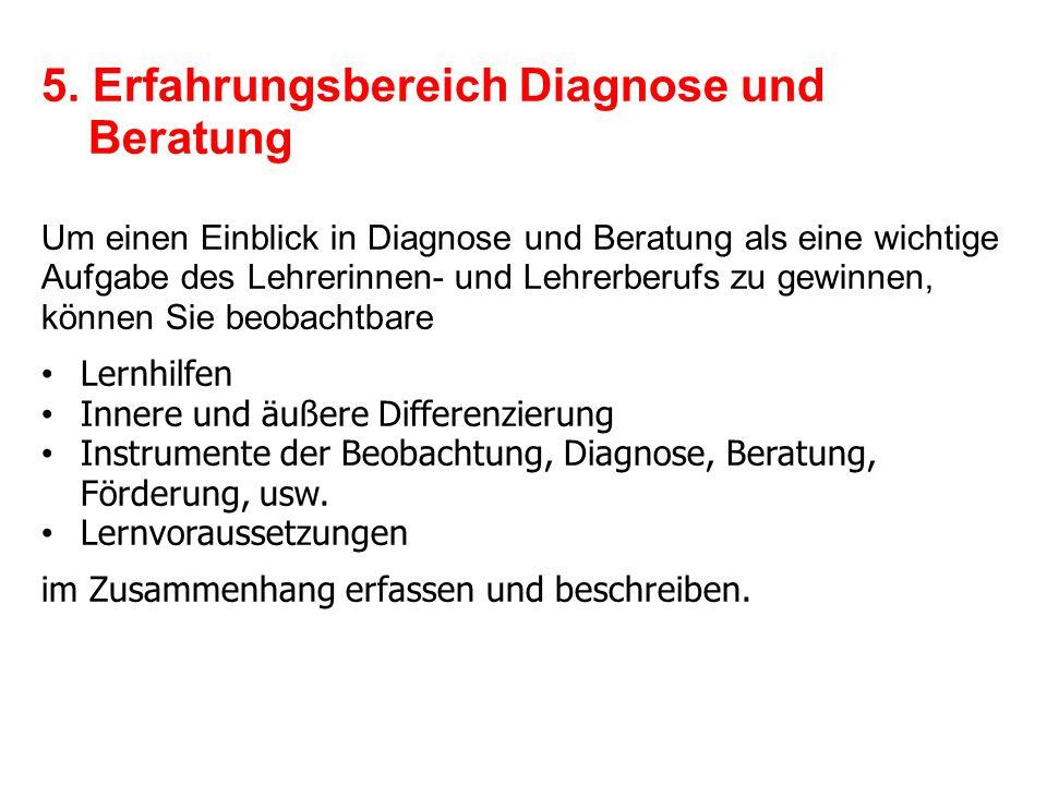 5. Erfahrungsbereich Diagnose und Beratung Um einen Einblick in Diagnose und Beratung als eine wichtige Aufgabe des Lehrerinnen- und Lehrerberufs zu g